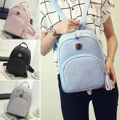$17.99 • Buy Ladies Girls Fashion PU Leather Shoulder School Travel Bag Backpack Women Bags