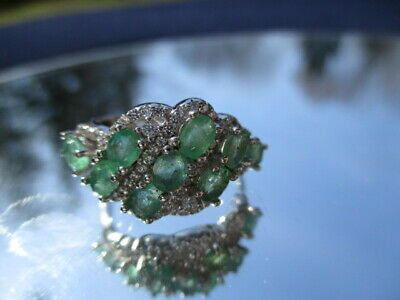 $ CDN1.40 • Buy Lot #396 - ESTATE 925 STERLING RING OVAL TRANSPARENT GREEN EMERALDS & CZ