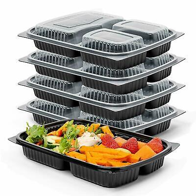 50x 3 Compartment Meal Food Containers BPA Free Plastic Lunch Box Lids Reusable • 25.99£