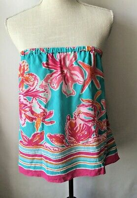 $39.95 • Buy Lilly Pulitzer Odessa Strapless Top SILK Sea Blue Via Sunny Print LARGE