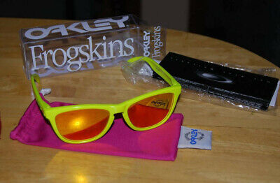 $285 • Buy Oakley Frogskins Neon Yellow W/ Fire Iridium Rare With Box And Inserts 03-200