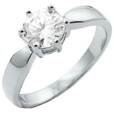 $6.68 • Buy New Rhodium Plated Round Solitaire CZ Ring - Size 5