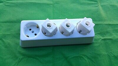 Schuko European Rewireable 4 Gang/Socket 250V 10 Amp WHITE Socket • 4.25£