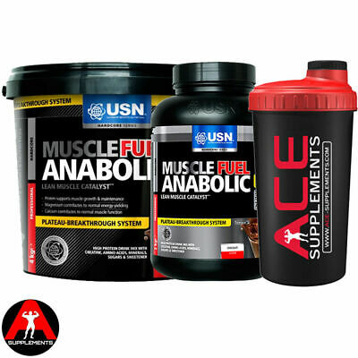 USN Muscle Fuel Anabolic Protein Powder Lean Gainer Shake All Size + Free Shaker • 32.99£