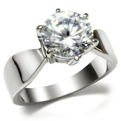 $6.74 • Buy New Classic Wide Stainless Steel 5 Ct Solitaire Engagement CZ Ring Sizes 5 - 10