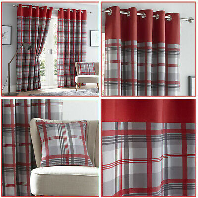 Red Eyelet Curtains Tartan Check Plaid Modern Ready Made Lined Ring Top Pairs • 30.99£