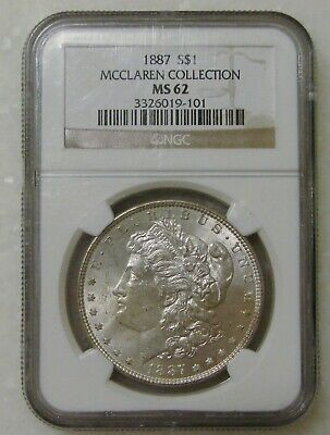 $0.99 • Buy 1887 - Morgan Silver Dollar - NGC MS 62 - McClaren Collection
