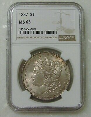 $1.25 • Buy 1887 - Morgan Silver Dollar - NGC MS 63