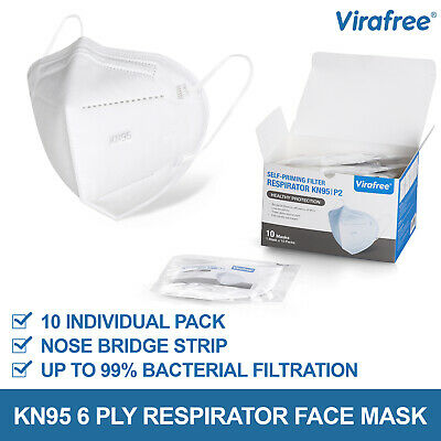 AU39.95 • Buy 10 Pack Virafree KN95 4 Ply Self Priming Respirator Face Mask N95 | P2 - White