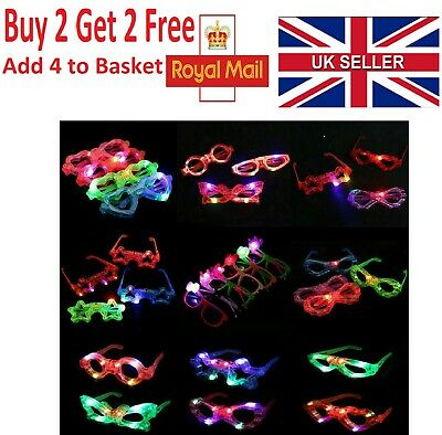 Party Glasses Light Up Glowing Glasses Heart Star Oval Round Shape Led Club UK • 2.29£