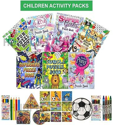 Kids Activity Pack Boys Girls Puzzle Book Jigsaw Stickers Maze Colouring 6 Sets • 1.49£
