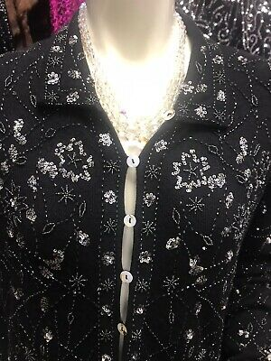 Caroline Charles Ladies Beaded BlackEmbelished Evening Jacket • 55.99£
