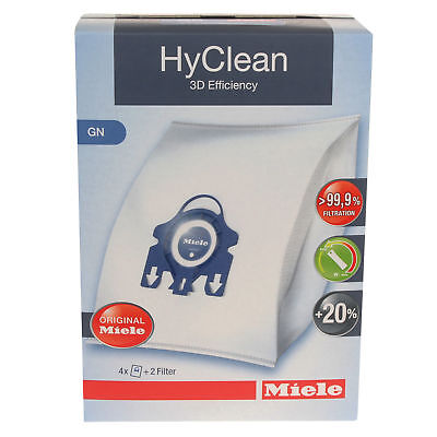 4 X Miele GN Hyclean 3D Efficiency Vacuum Hoover Cleaner Dust Bags & 2 Filters • 11.99£