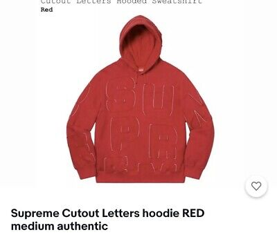 $ CDN194.89 • Buy Supreme Cutout Letters Hoodie RED Medium Authentic (unopened/deadstock)