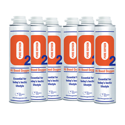6 X 10L Pure Replacement Canned Portable Oxygen In A Can Canister  • 73.99£
