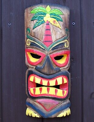 Tiki Mask Wooden 30cm Wall Hanging Handcarved Bar Decoration R • 999.99£