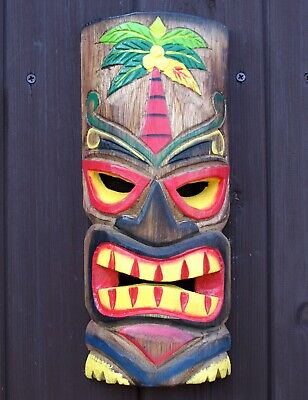 £12.95 • Buy Wooden Tiki Bar Hanging Mask Accessories 30cm Wall Hanging Decoration