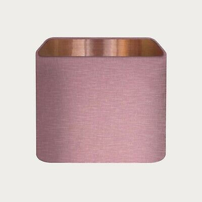 £36.50 • Buy Lampshade Mauve Textured 100% Linen Brushed Copper Rounded Square Light Shade