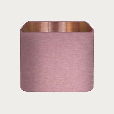 £36.50 • Buy Rounded Square Mauve 100% Textured Linen Lampshade Brushed Copper Lining