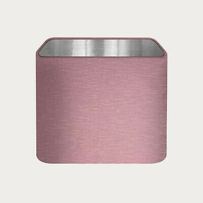 £36.50 • Buy Rounded Square Mauve 100% Textured Linen Lampshade Brushed Silver Lining