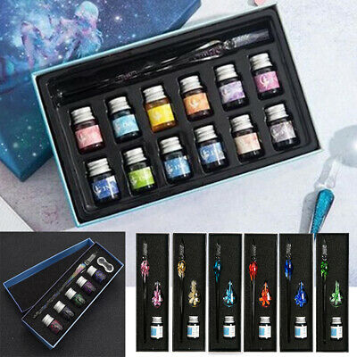 Vintage Crystal Dip Glass Pen Set Ink Fountain Signature Writing Christmas Gift/ • 9.99£