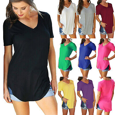 Plus Size Womens Short Sleeve V Neck Longline Blouse Ladies Casual T Shirt Tops • 8.45£