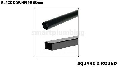 £7.29 • Buy Rainwater Downpipe 1 Metre Lengths BLACK Square Or Round 68mm Pipe *FAST DEL*