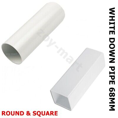 £7.45 • Buy Rainwater Downpipe 1 Metre Lengths WHITE Square Or Round 68mm Pipe *FAST DEL*