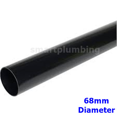 £7.66 • Buy Rainwater Downpipe 1 Metre Lengths BLACK Round APPROX 68mm Pipe *FAST DEL*