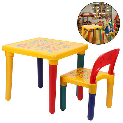 ABC Alphabet Childrens Plastic Table And Chair Set - Kids Toddlers Childs - Gift • 16.29£