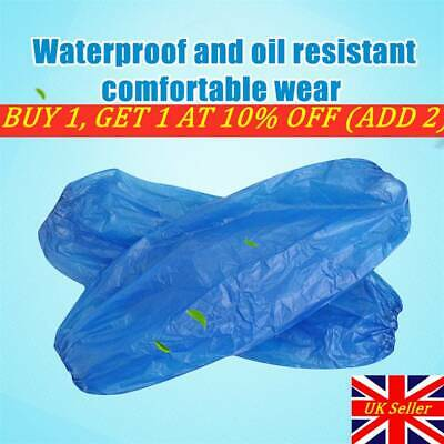 NEW Disposable Plastic Arm Sleeves Covers BLUE Cleaning Oversleeves Protective- • 10.21£