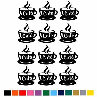 12 COFFEE CUP Vinyl Stickers Wall Tile Kitchen Sticker Cups  Art Transfer Decal • 2.79£