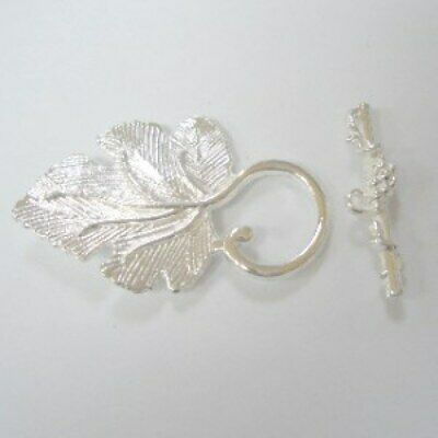 BUY 3 GET 3 FREE 3 Sets Plated Metal Silver Leaf Toggle Clasps - A6403 • 1.99£