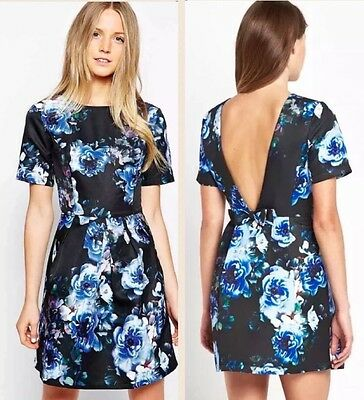 £25.99 • Buy BN Floral Skater Dress 10 UK Short Sleeve Mini Sexy Backless Bow Statement Party