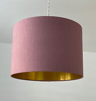 £33.50 • Buy Mauve 100% Textured Linen Drum Lampshade With Brushed Gold Ceiling Shade