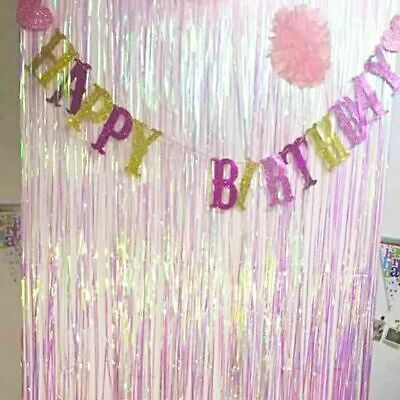 2X Foil Fringe Tinsel Shimmer Curtain Door Wedding Birthday Party Baby Shower 2M • 4.99£