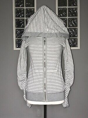 $ CDN62.40 • Buy Lululemon Aura Jacket 4 Heathered Shark Sidewalk Stripe Hoodie Reversible Rare