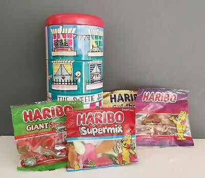 Sweet Shop Storage Stacking Tins With Haribo Sweets Gift NEW • 5.95£