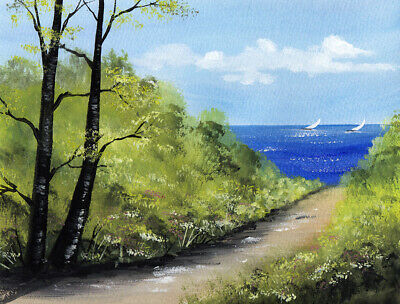 WATERCOLOUR PAINTING SEASCAPE, Path To The Sea, Boats, Sarah Featherstone ART • 17.95£