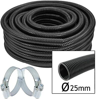 Hose Pipe Watering Drip Feed Irrigation Greenhouse + 2 X Clamp Clips 25mm X 10m • 19.99£