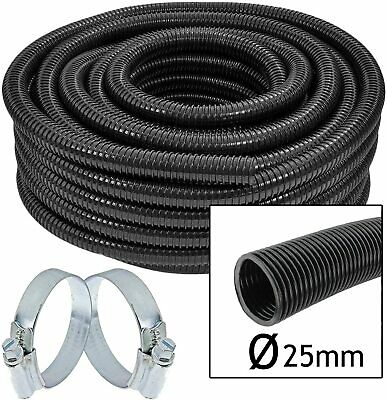 Hose Pipe Watering Drip Feed Irrigation Greenhouse + 2 X Clamp Clips 25mm X 15m • 32.49£