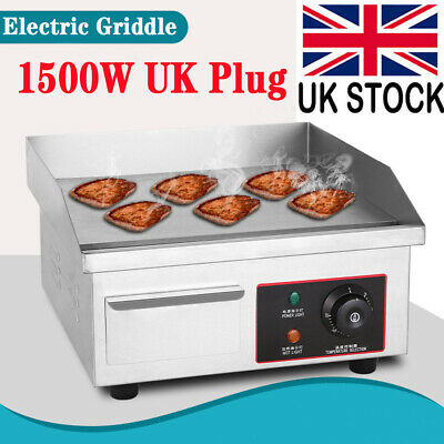 Electric Countertop Griddle Commercial Kitchen Hot Plate Bacon Grill Stainless • 61.98£