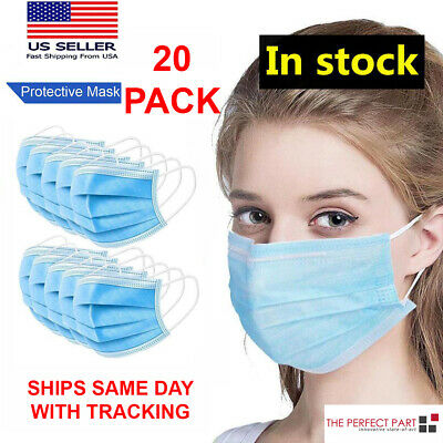 $18.95 • Buy 20 PCS Face Mask Medical Surgical Dental Disposable 3-Ply Earloop Mouth Cover