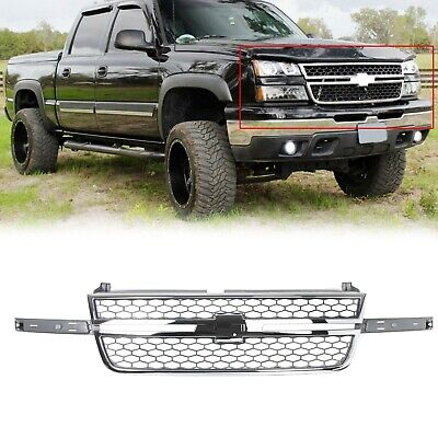 $127 • Buy Honeycomb Grille Chrome & Gray For Chevy Silverado Pickup Truck 05-07 New
