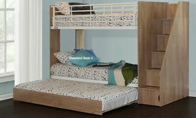 Bunk Bed With Pullout Trundle And Stairs With Storage Cupboards - New Kids Bunks • 579£