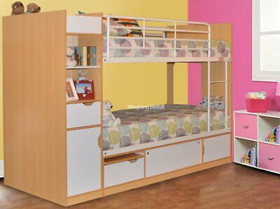 Beech And White Bunk Beds With Storage Underneath And Side - New Childrens Bunks • 449£