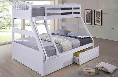 White Double Bunk Bed With Underbed Storage Drawers - Optional Mattresses - New • 479£