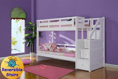 Luxury Single White Wooden Bunk Bed With Staircase - Storage Drawers In Stairs • 789£