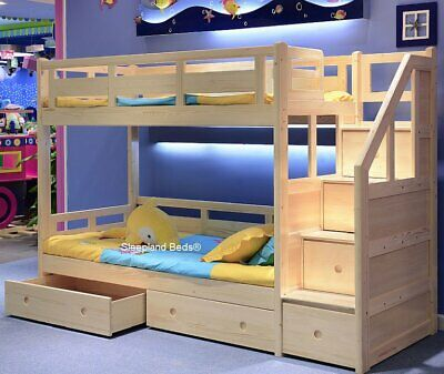 Luxury Single Pine Wooden Bunk Bed With Drawers Underneath - Storage Stairs • 829£