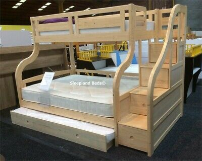 Pine Wooden Double Bunk Beds With Trundle Guest Bed Underneath • 1,115£